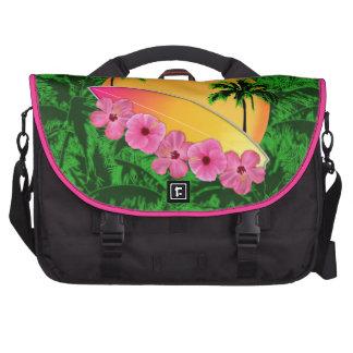 Flores de la tabla hawaiana y del hibisco bolsas para ordenador