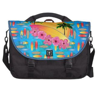 Flores de la tabla hawaiana y del hibisco bolsa de ordenador