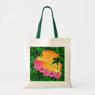 Flores de la tabla hawaiana y del hibisco bolsa tela barata