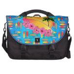 Flores de la tabla hawaiana y del hibisco bolsas de ordenador