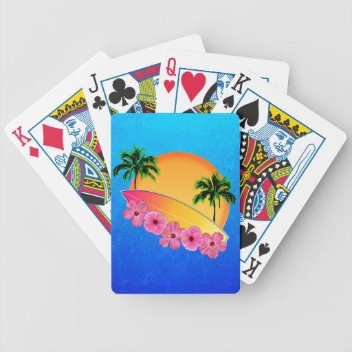 Flores de la tabla hawaiana y del hibisco barajas de cartas