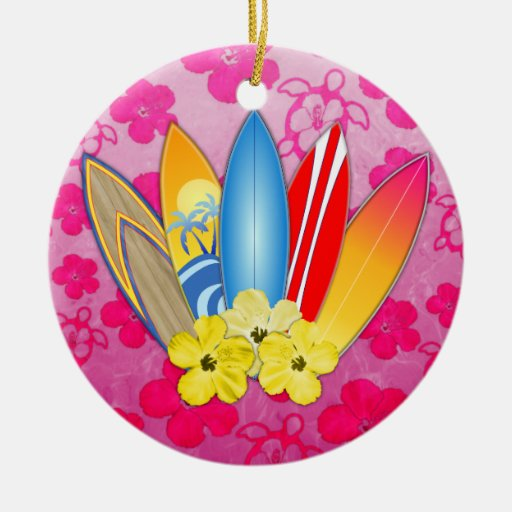 Flores de la tabla hawaiana y del hibisco adorno redondo de cerámica