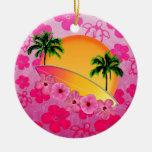 Flores de la tabla hawaiana y del hibisco ornaments para arbol de navidad