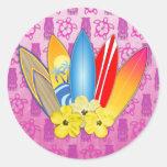 Flores de la tabla hawaiana y del hibisco etiqueta