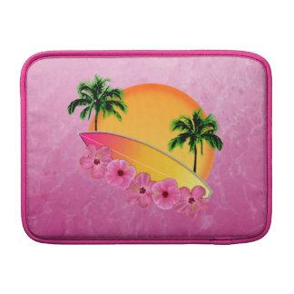 Flores de la tabla hawaiana y del hibisco funda  MacBook