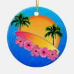 Flores de la tabla hawaiana y del hibisco ornato