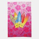 Flores de la tabla hawaiana y del hibisco toallas de mano