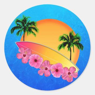 Flores de la tabla hawaiana y del hibisco pegatina redonda