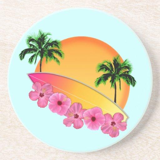Flores de la tabla hawaiana y del hibisco posavaso para bebida