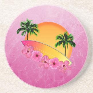 Flores de la tabla hawaiana y del hibisco posavasos diseño