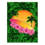 Flores de la tabla hawaiana y del hibisco postales