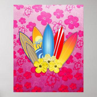 Flores de la tabla hawaiana y del hibisco póster