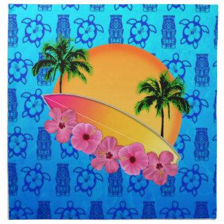 Flores de la tabla hawaiana y del hibisco servilleta