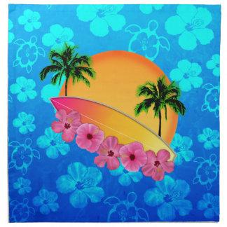 Flores de la tabla hawaiana y del hibisco servilleta de papel