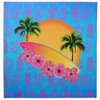 Flores de la tabla hawaiana y del hibisco servilletas de papel