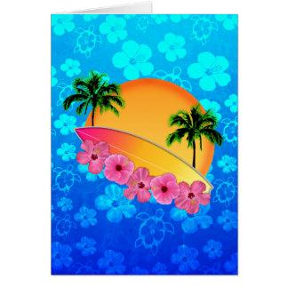 Flores de la tabla hawaiana y del hibisco tarjeta de felicitación