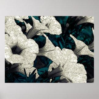 Flores de la tapicería: El negro, el blanco, y el  Póster