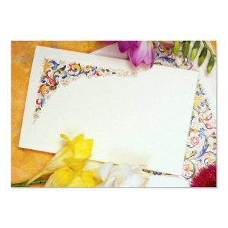 flores de la tarjeta amarilla y de las flores invitación 12,7 x 17,8 cm