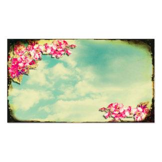 Flores de la tarjeta de visita en el cielo