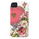 Flores de la tarjeta del día de San Valentín iPhone 4 Case-Mate Cárcasas