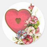 Flores de la tarjeta del día de San Valentín Etiqueta Redonda
