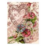 Flores de la tarjeta del día de San Valentín y cor Postales