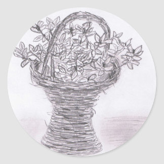 Flores de la terraza pegatina redonda