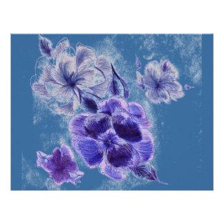 Flores de la tinta plantilla de membrete