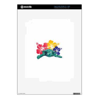Flores de la tortuga y del hibisco de Hawaii iPad 2 Skins