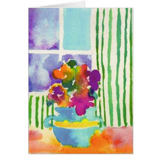 Flores de la ventana de Jessie Abrams, edad 11 Tarjeta Pequeña
