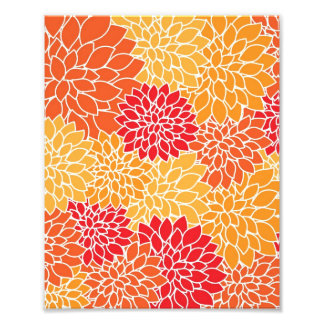 Flores de las dalias del rojo anaranjado del estam fotografía