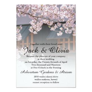 """Flores de las flores de cerezo que casan la invitación 5"""" x 7"""""""