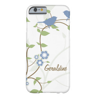 Flores de las hojas de los pájaros del verde azul funda para iPhone 6 barely there