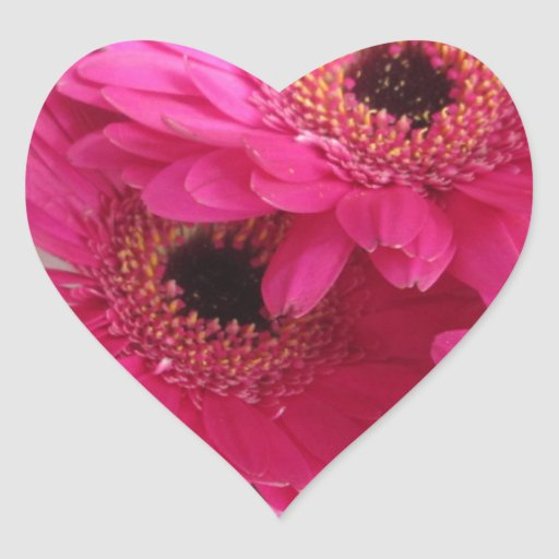 Flores de las rosas fuertes pegatina en forma de corazón
