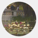 Flores de Lilly Lillies del agua Etiqueta Redonda