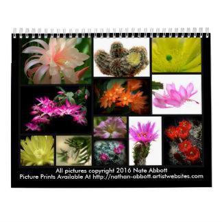Flores de los cactus calendario