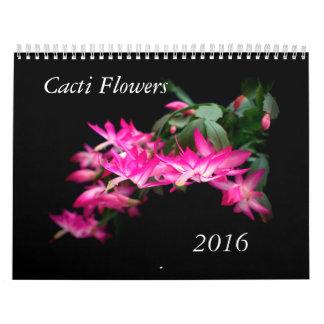 Flores de los cactus calendario de pared