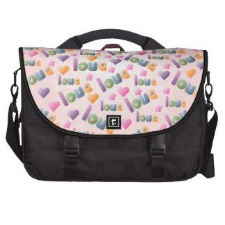 Flores de los corazones y bolso del ordenador port bolsas para ordenador