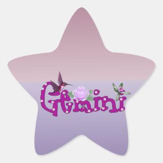 Flores de los géminis pegatina en forma de estrella