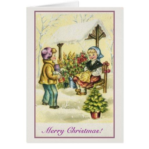 Flores de los niños del navidad del vintage tarjeta de felicitación