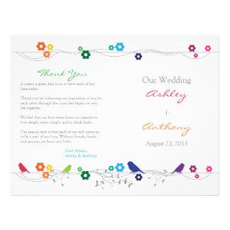 Flores de los pájaros del programa del boda del ar flyer a todo color