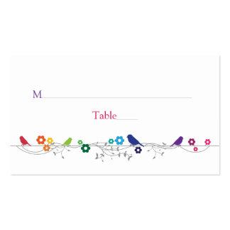 Flores de los pájaros del tema del arco iris que c tarjetas personales