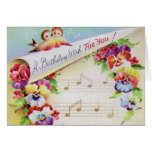 Flores de los pájaros del vintage y tarjeta de cum