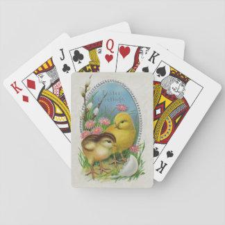 Flores de los polluelos del bebé de la primavera d cartas de póquer
