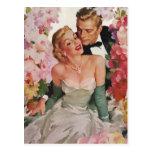 Flores de los recienes casados del novio de la postales