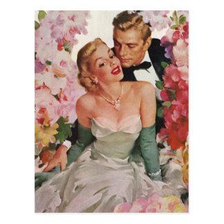 Flores de los recienes casados del novio de la tarjetas postales