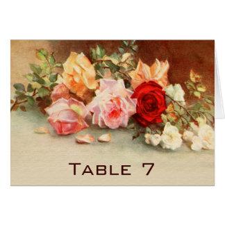 Flores de los rosas de la antigüedad del número de tarjeta pequeña