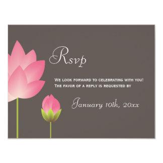 """Flores de loto blanco rosadas que casan respuesta invitación 4.25"""" x 5.5"""""""