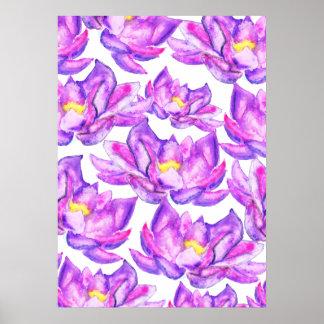 Flores de loto púrpuras rosadas pintadas a mano de póster