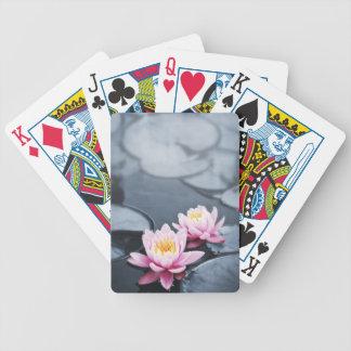 Flores de loto rosadas baraja de cartas